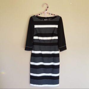 WHBM black grey white striped Bodycon dress size 2